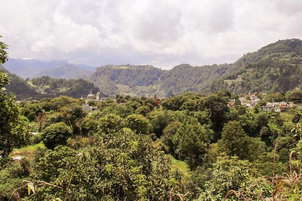 Pueblos tucked in among the trees. So much growth, even at an elevation of 3,100 meters/10,000 feet.