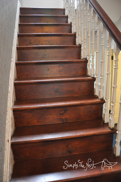 Victorian wooden staircase finished with Osmo Polyx Oil Tints in Amber 3072 - by Simply The Nest, a UK DIY renovation blog