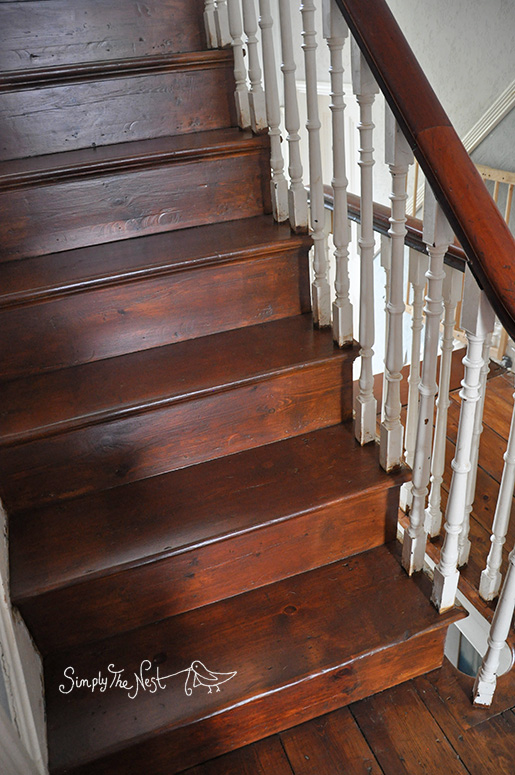 wooden staircase finished with Osmo Polyx Oil Tints in Amber 3072 - by Simply The Nest, a UK DIY renovation blog