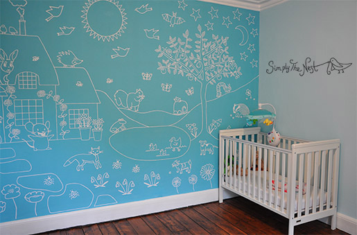 English country garden themed hand-painted child's nursery mural by Simply The Nest