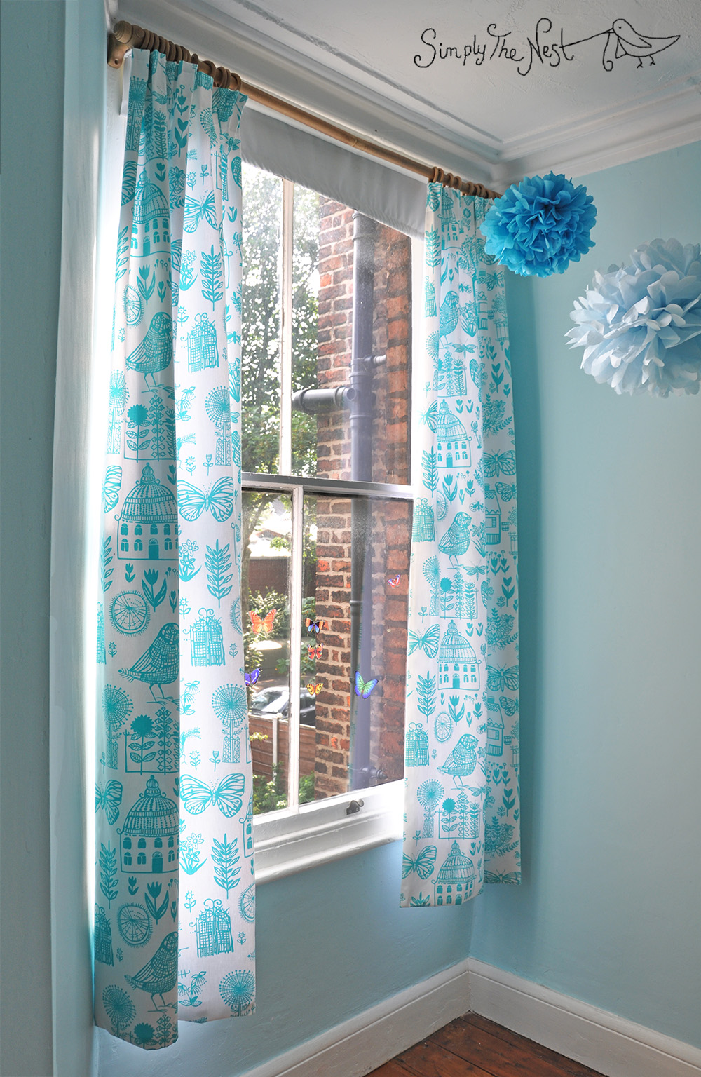 Turquoise curtains for a baby girl's nursery using Designer's Guild Boqueria fabric - a project by Simply The Nest, a UK DIY renovation blog