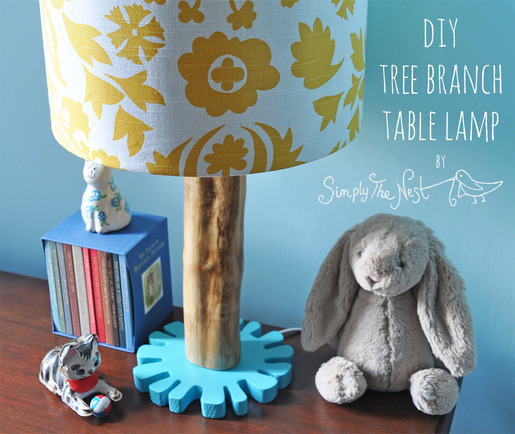 DIY table lamp made from a tree trunk by Simply The Nest, a UK DIY and house renovation blog