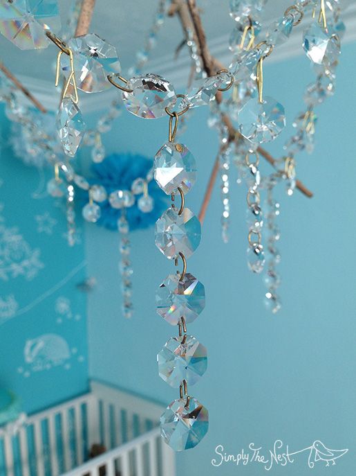 DIY olive tree branch chandelier with vintage lead crystals - by Simply The Nest, a UK renovation blog