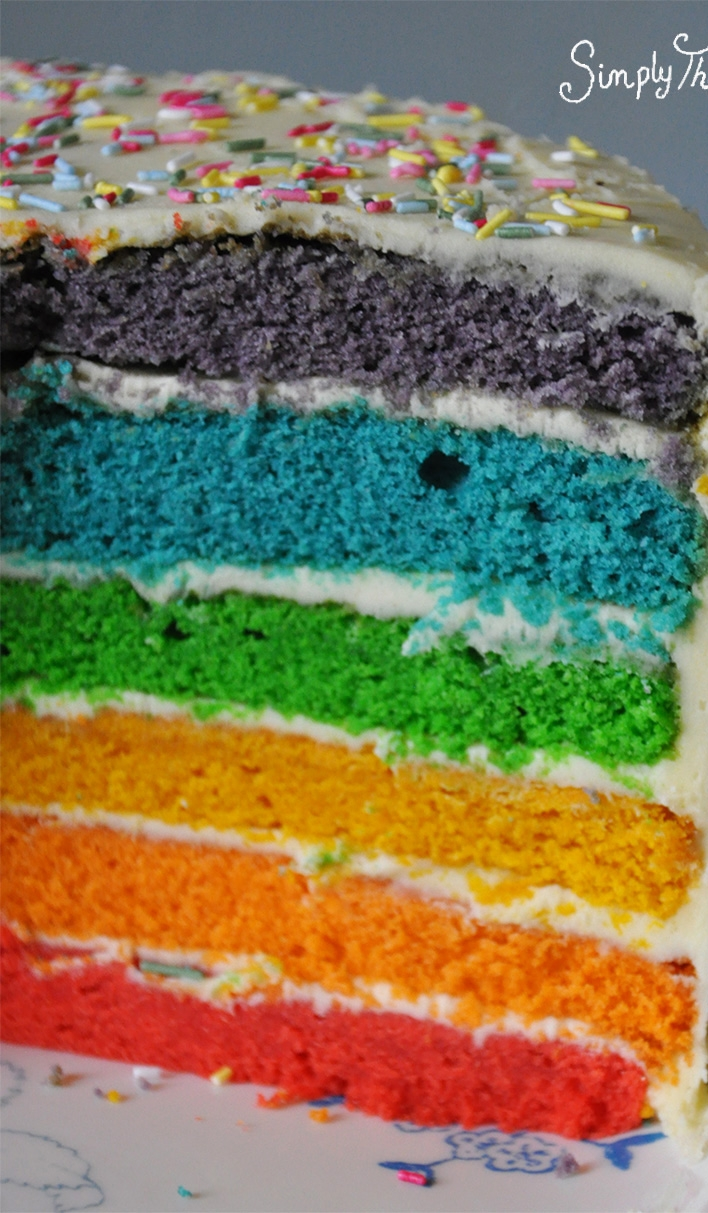 How To Make A Really Easy Rainbow Cake Simply The Nest