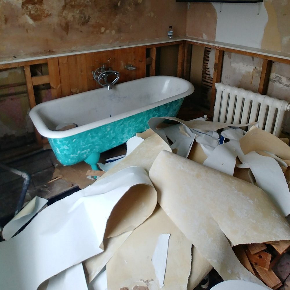 Quick spot of wallpaper removal. Not pictured - the massive pile of nail-festooned wooden panelling below the paper...