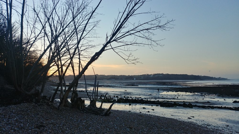 Beautiful Bembridge beach at sunset.