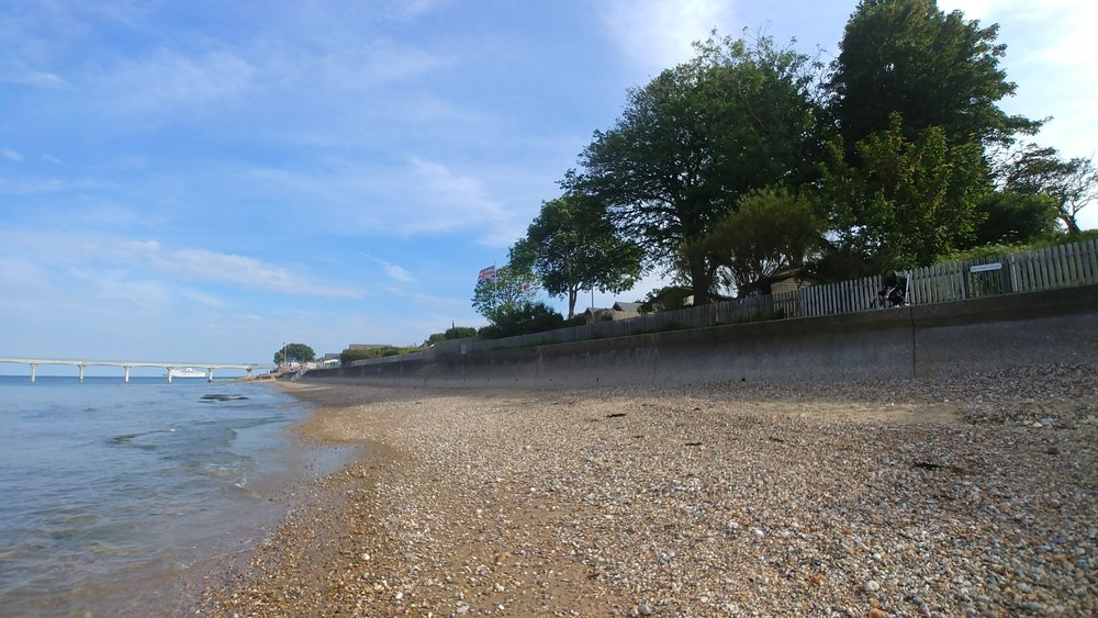 Lane End Beach at Bembridge at (nearly) high tide.