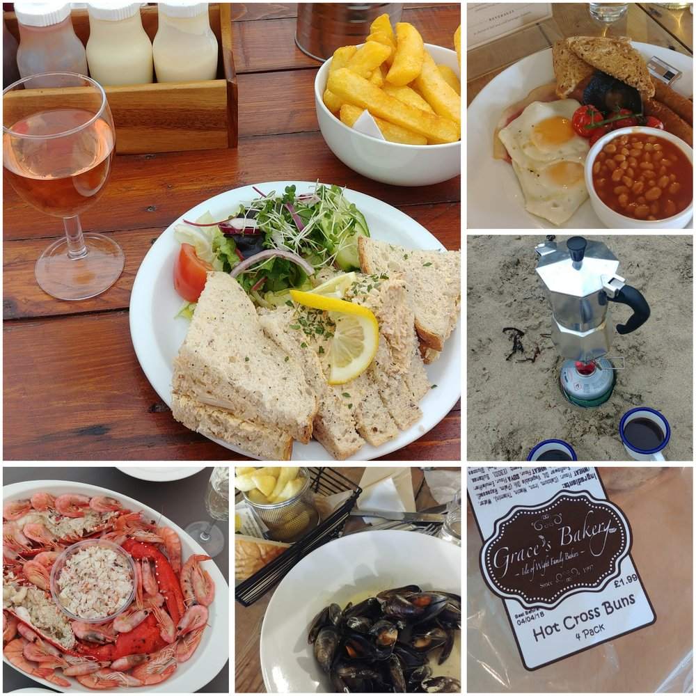 Crab sandwiches, the Captain's Breakfast at the Crab and Lobster, brewing up espresso on the beach with our pocket rocket, local hot cross buns (well it was Easter), moules, and a massive seafood platter from the fishmonger in Bembridge.