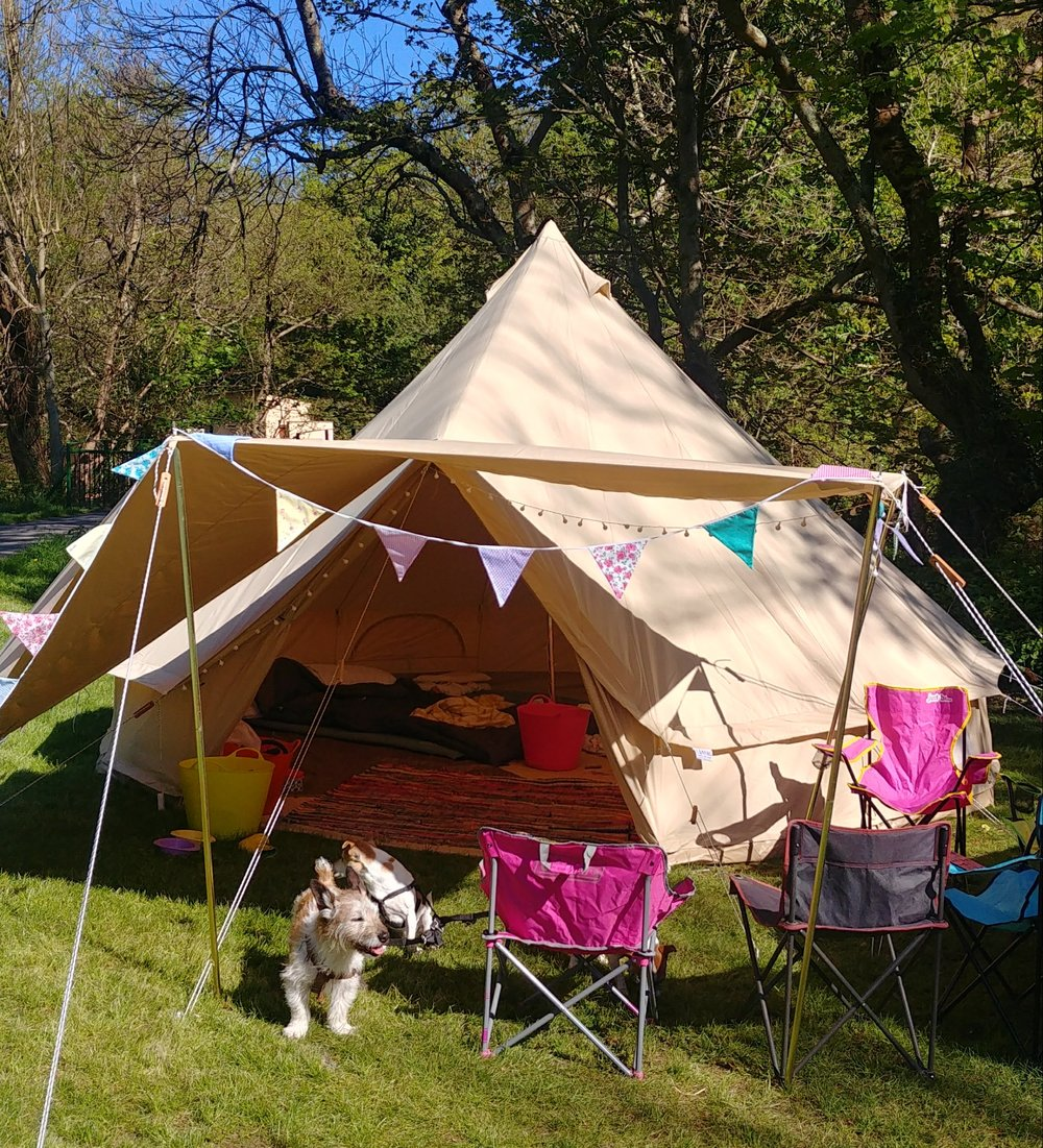 Further upgrade with a 2m x 4m canvas awning (plus guy ropes and three poles & Camping in a Bell Tent u2014 Alice de Araujo