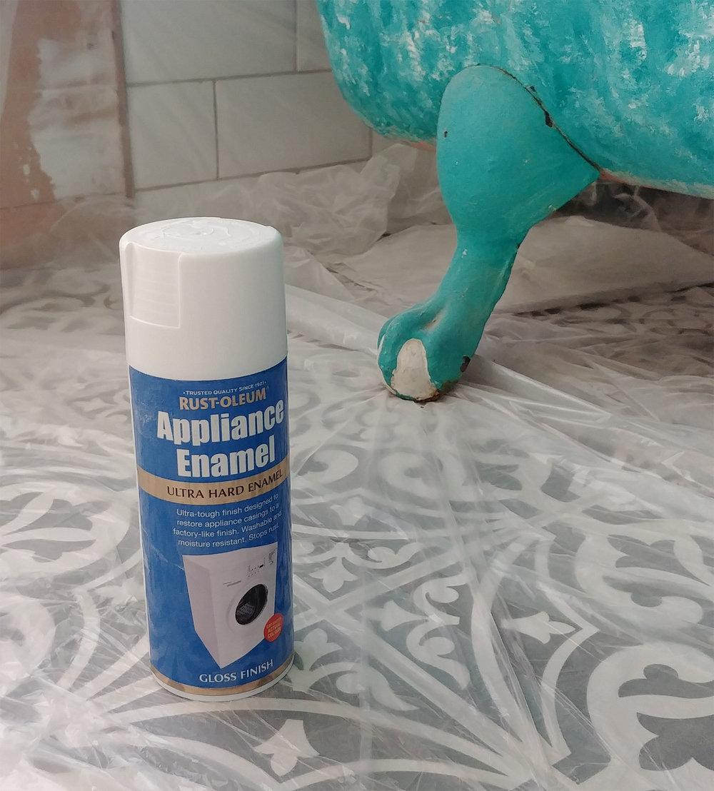 Rustoleum Appliance Enamel spray in Ultra Hard Enamel gloss finish.