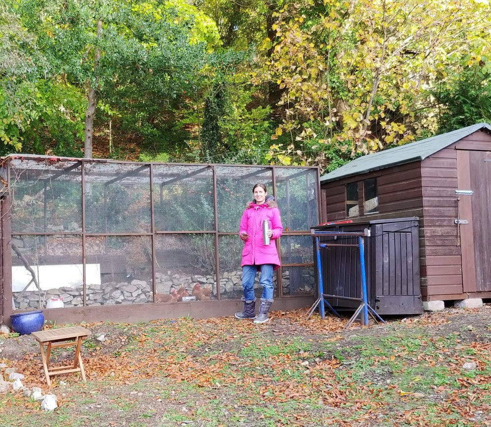 Feeding chickens at the cottage we stayed at in Wales in October last year.
