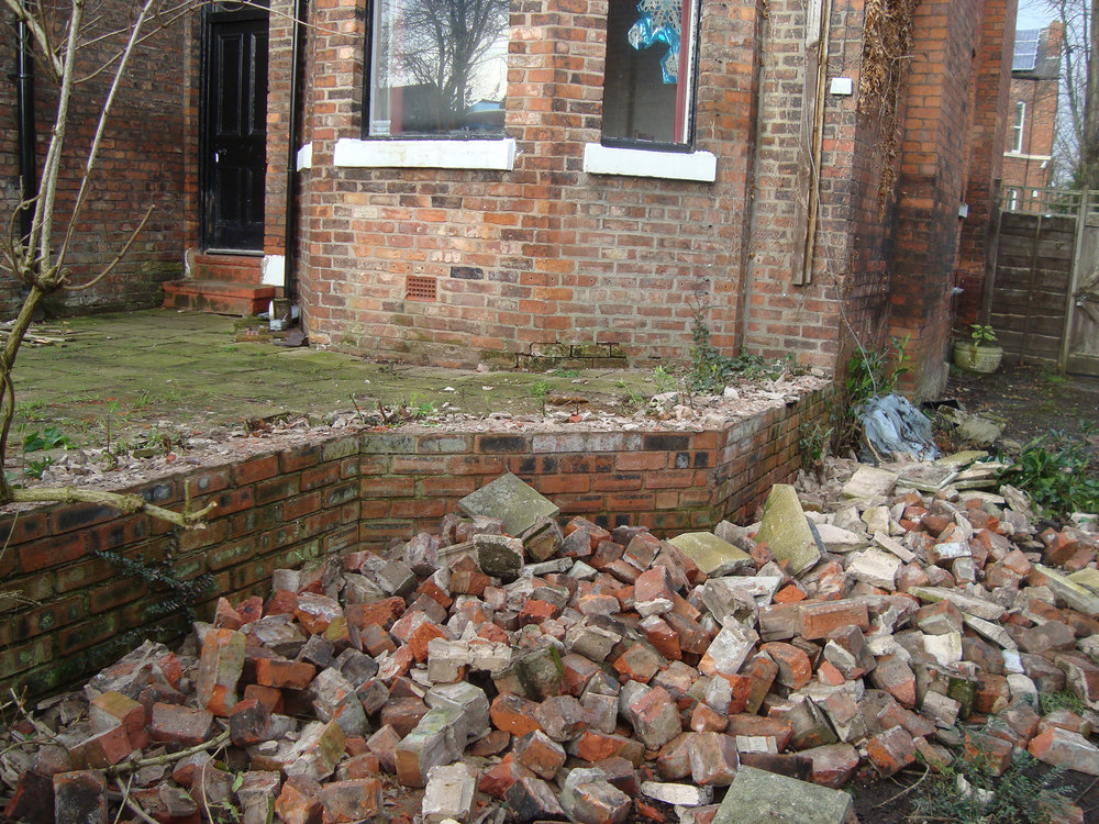 These bricks were from the old terrace wall.