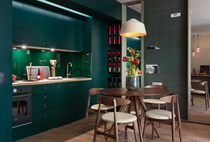 A mid-century modern kitchen is finished in layers of the 2019 Color of the Year. Image: Behance