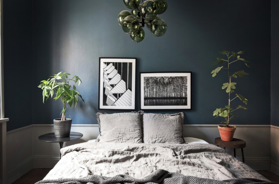 A deeper, saturated shade of Night Watch complements grays, blacks and whites. Image: Scandinavian Homes