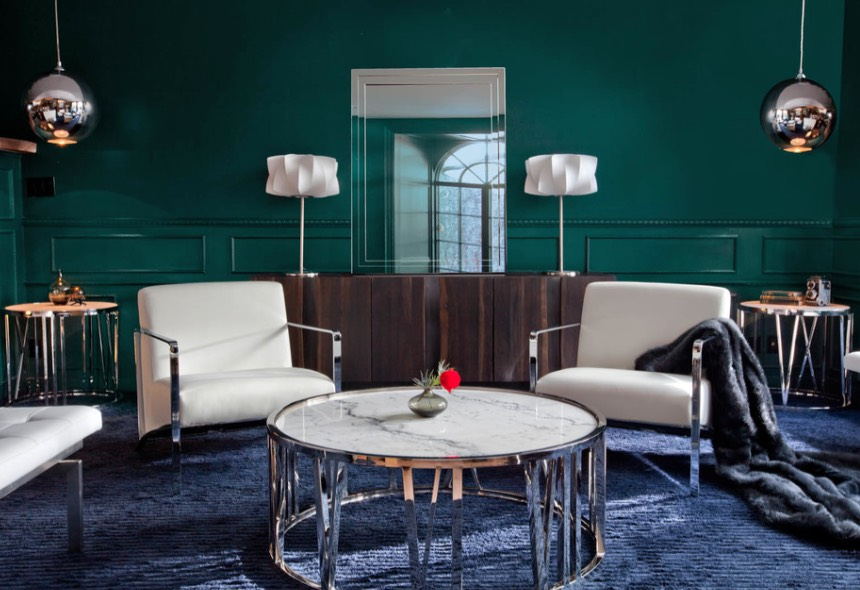 PPG's Color of the Year has a luxurious vibe, perfect for a  high-glamour room . Image: Glassman Lighting