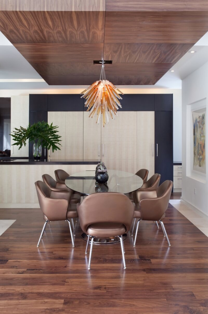 Funky abstract hanging light designs add an artistic feel to a space. Image: Cabinetry Creations