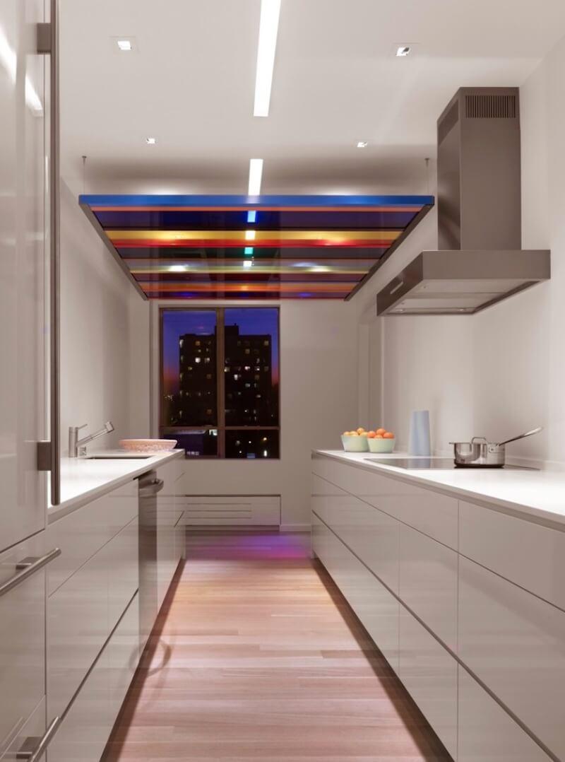 Some colored lighting designs utilize colored paneling over regular lights. Image: Hulburd Design