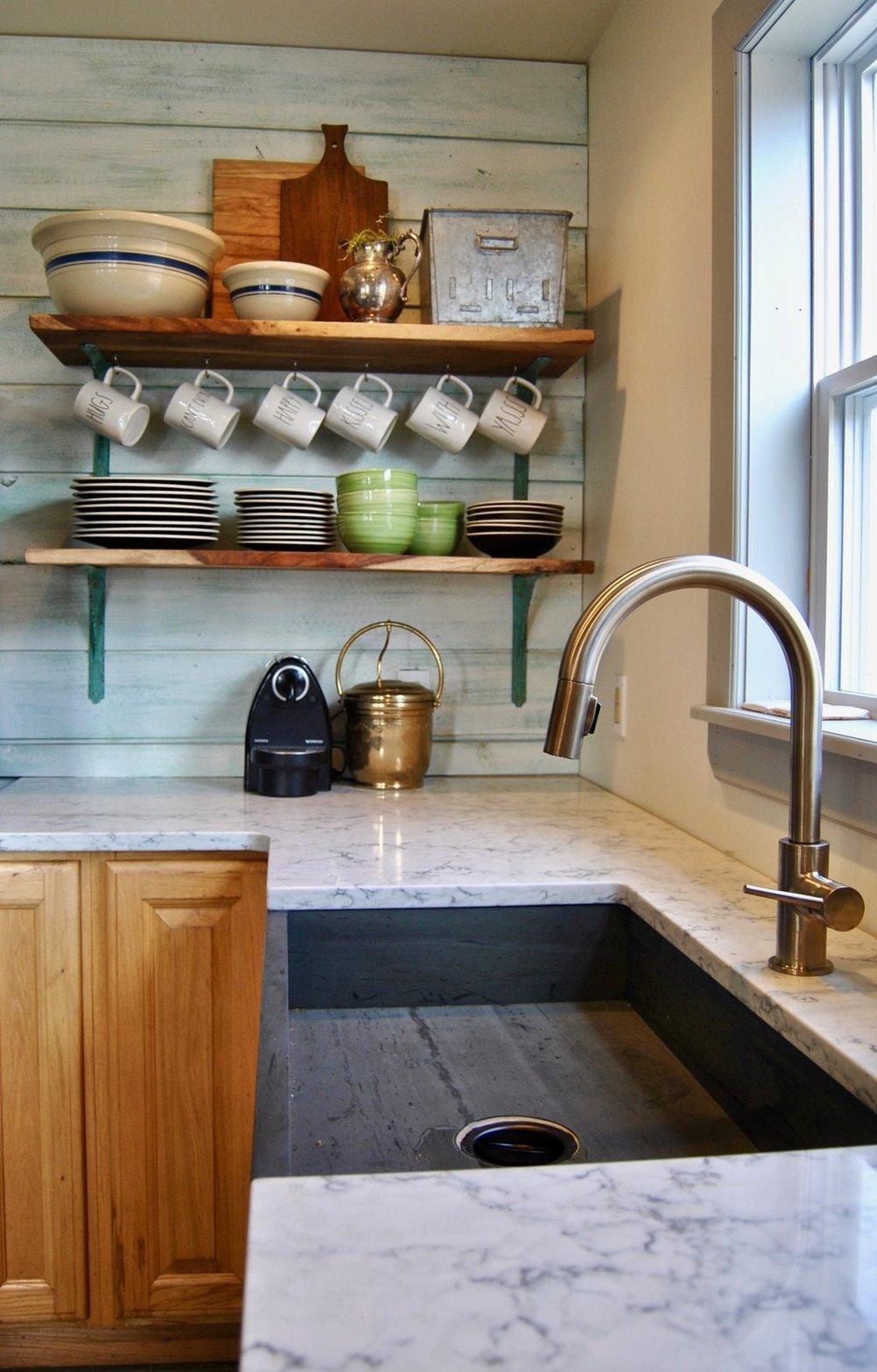Custom, Maine-made slate sink  Photo: Wicked Awesome Maine Vacation Rentals