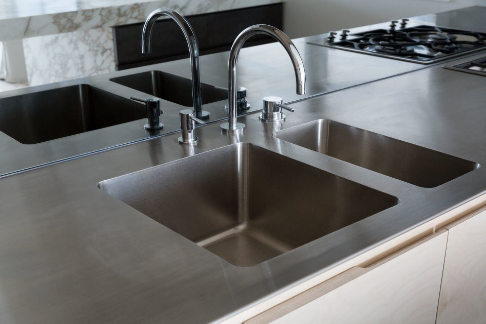 Custom-made stainless steel benchtop and integrated sink.  Boston Parker