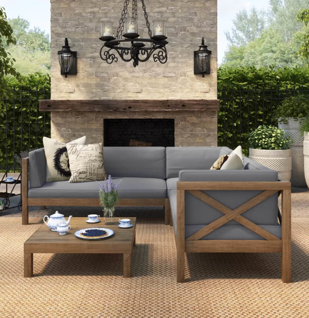Summer decorating is a breeze with the Lejeune 4-piece sofa set. Image:  Birch Lane