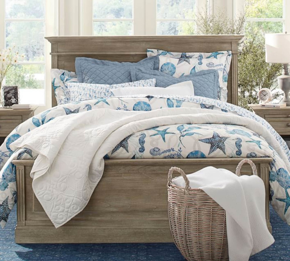 Get a beachy summer look with the Catalina Duvet Cover. Image:  Pottery Barn