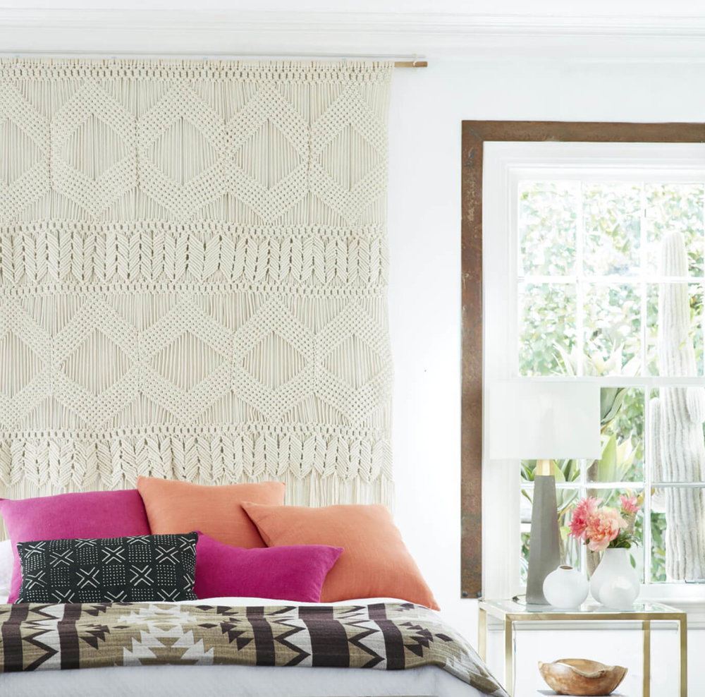 Get fresh and crafty with a boho macrame wall hanging. Image:  Wisteria
