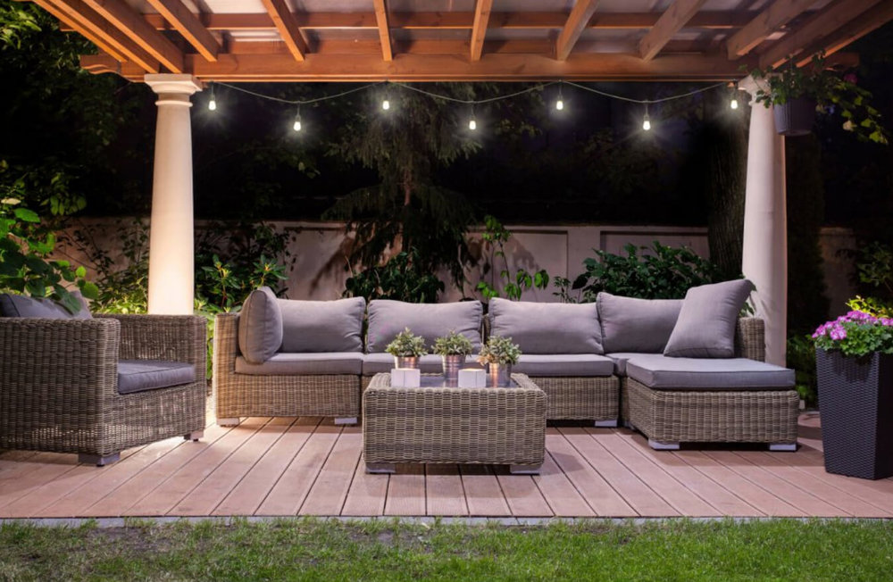 Light up your summer parties with Better Homes & Gardens LED Cafe String Lights. Image:  Hayneedle