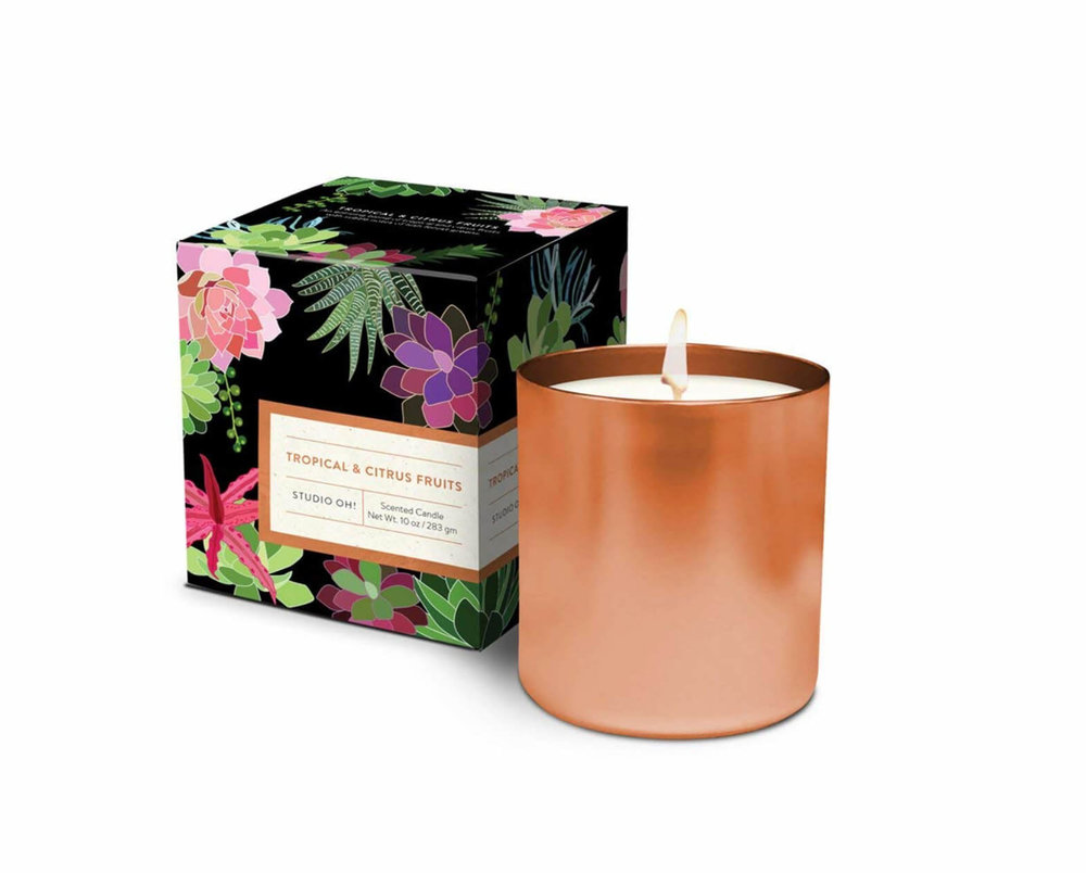 Fill your home with summer scents with Studio Oh! Gift Boxed Tropical and Citrus Hand-Poured Scented Candles. Image:  Studio Oh on Amazon.com