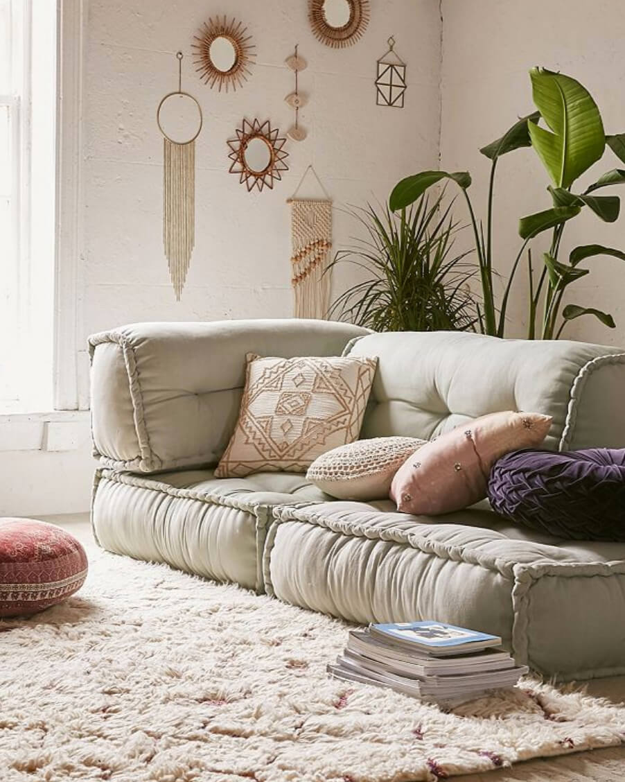 Urban Outfitters' Reema Floor Cushion creates a casual boho space for entertaining. Image:  Urban Outfitters