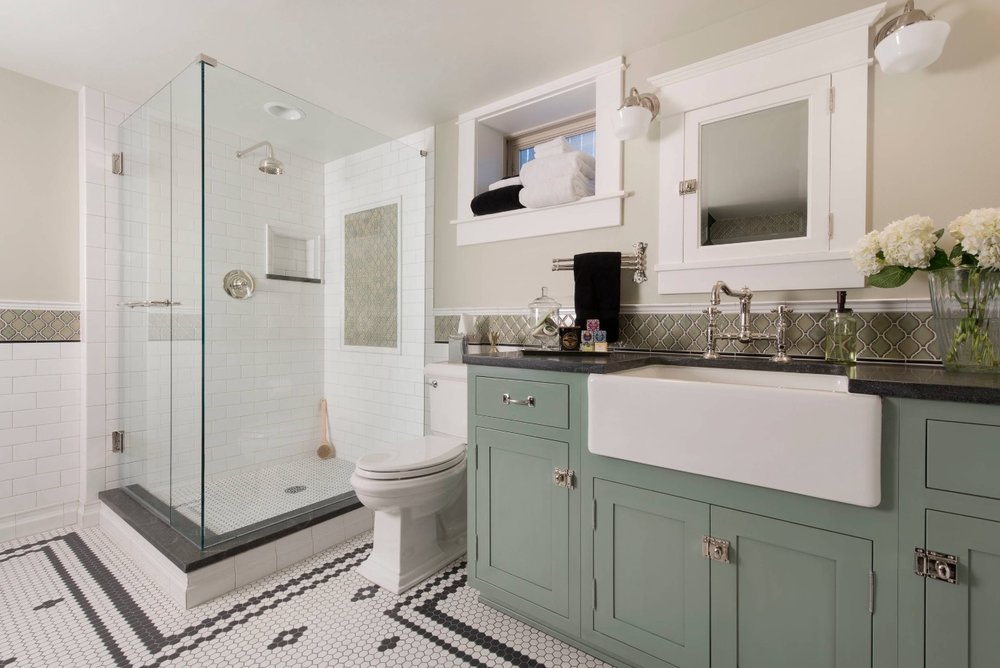 Save money by plumbing your basement bathroom now. Image: Classic Homeworks