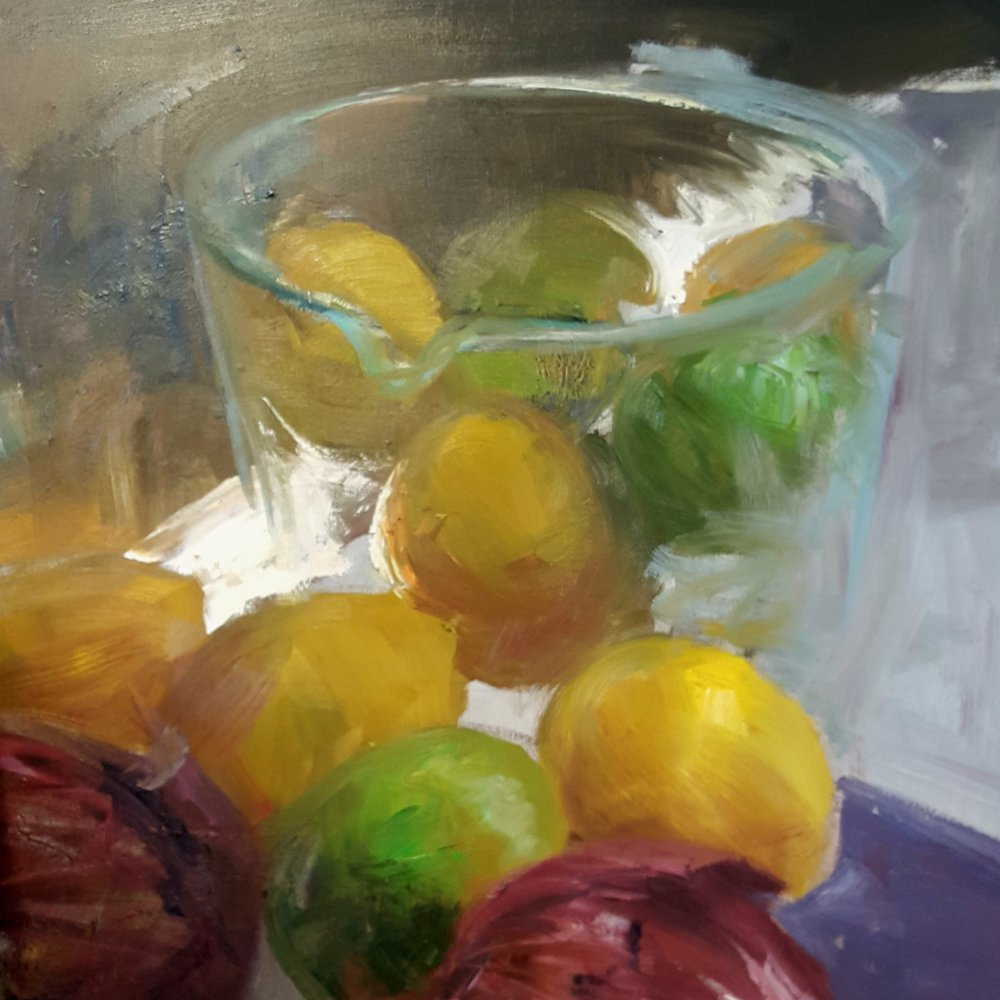 "Lemons, Limes, Onions  Oil on canvas  30"" x 40""  $3,200"