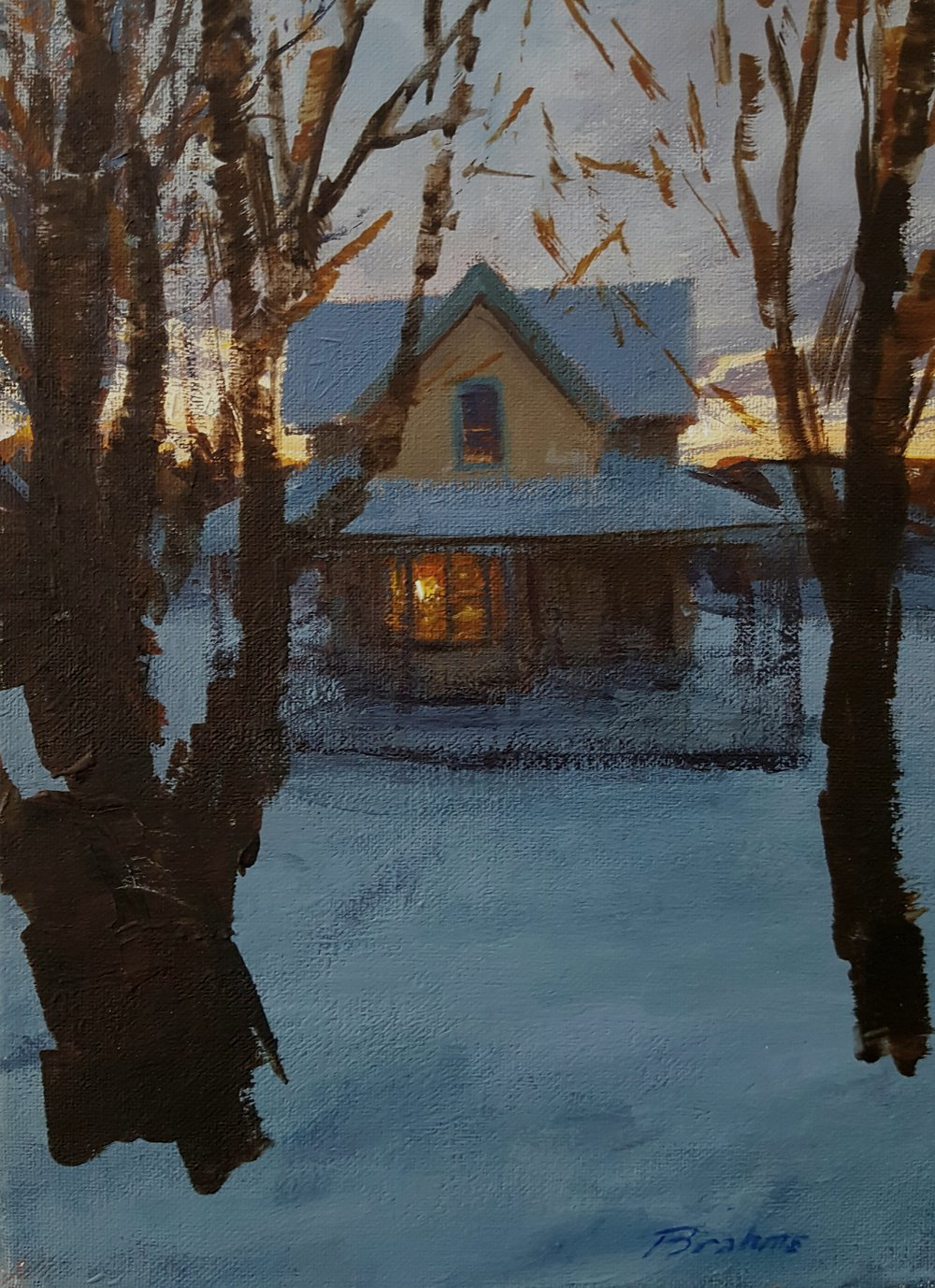 House at Sunset, Winter