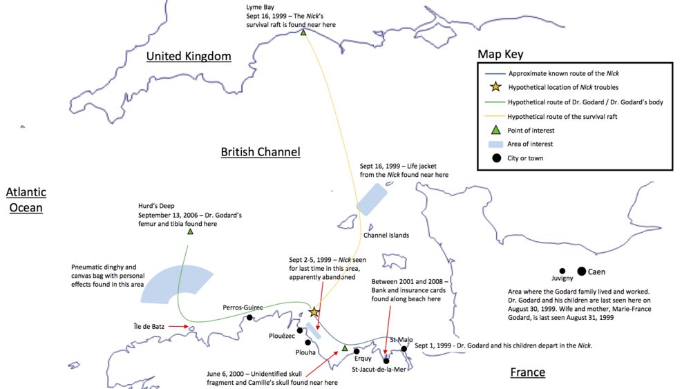 Map of the events surrounding the disappearance of the Godard family (Episode 8)
