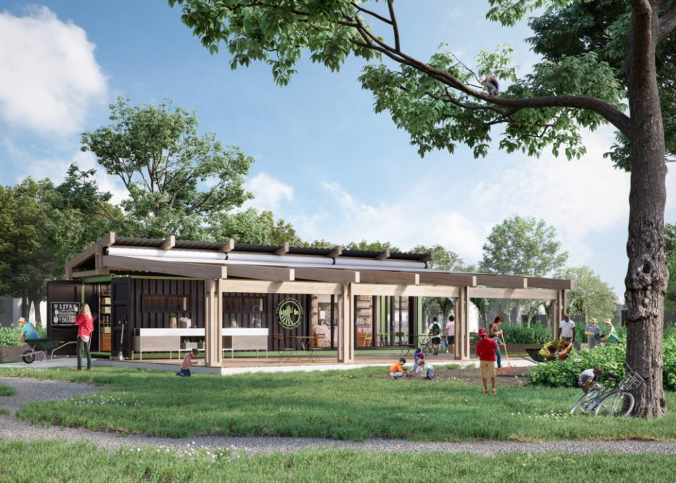 """A rendering of the Food Literacy Project's teaching pavilion at Iroquois Farm. The organization is working with Luckett & Farley, a Louisville-based architecture, engineering and interior design firm. 