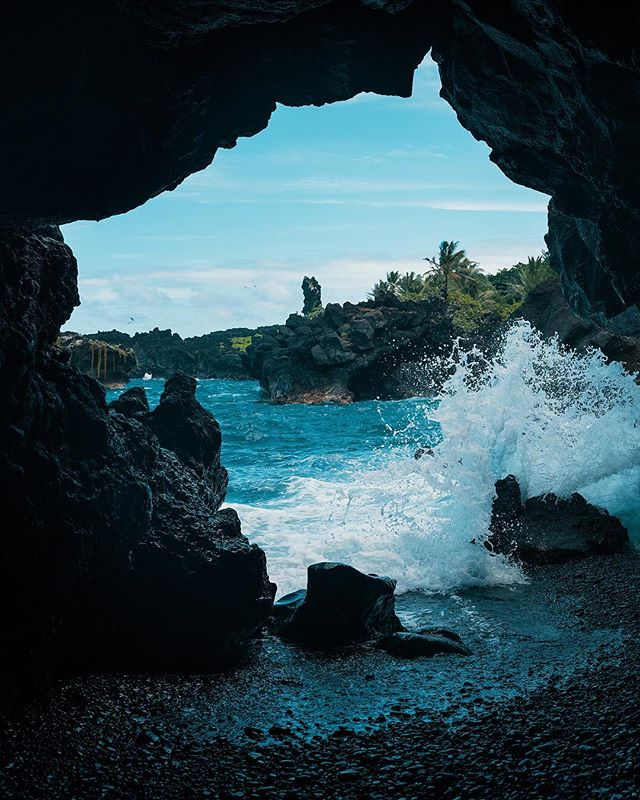 Here's a view from inside a cave at the famous black sand beach near Hana. Those waves were rough!