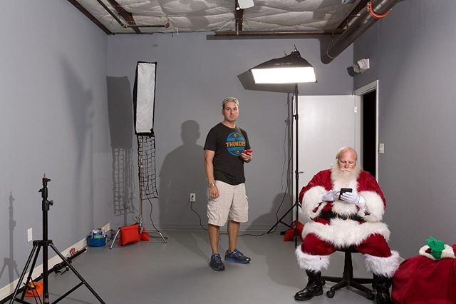 I've had the pleasure of working with local-legend Santa Phil a few times.  Here is in the studio relaxing while I get the lights ready. I asked him to come by to pose for some painting ideas I wanted to try. In this shot he's checking his holiday schedule for the remainder of the year (which was insane - he showed it to me!) . . . . . #austin #atx #austintexas #christmas #christmascards #art #holidays #santa #merrychristmas #dallas #houston #houstontx #dallastx #okc #locallove #atxlove #christmas #christmas2018 #ilovechristmas #christmasaddict #christmastree #christmasdecorations #winterwonderland #christmascard #artistsoninstagram #santaclaus #santaclausiscomingtotown #santaclause
