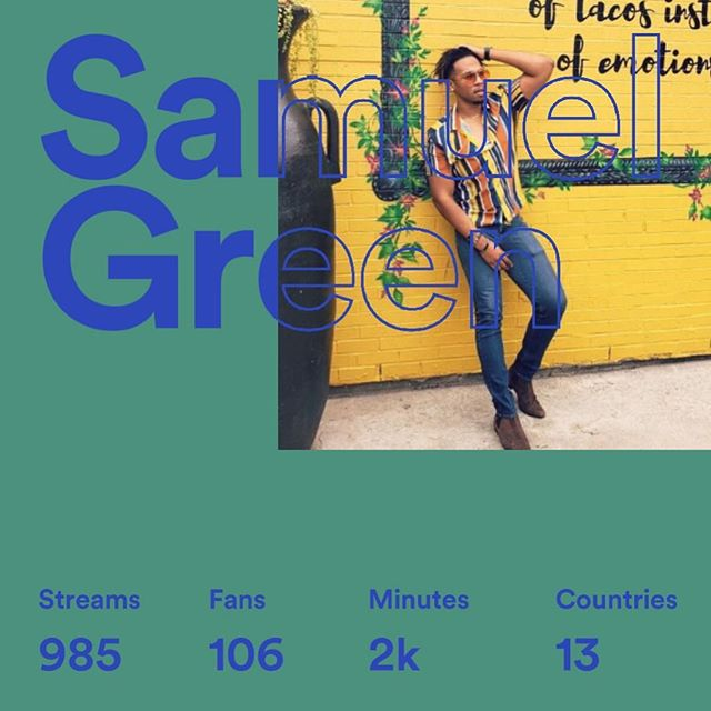Thank You @spotify 4 sharing my creativity and story with the world 🌍! Can't Wait for The New Music In 2019 🙌🏽🎶 #TimeOut #SamGreen #2019 #music #rnb #soul #pop #blessed #different  Get Into It! Then Run Me My Check!!! 💵