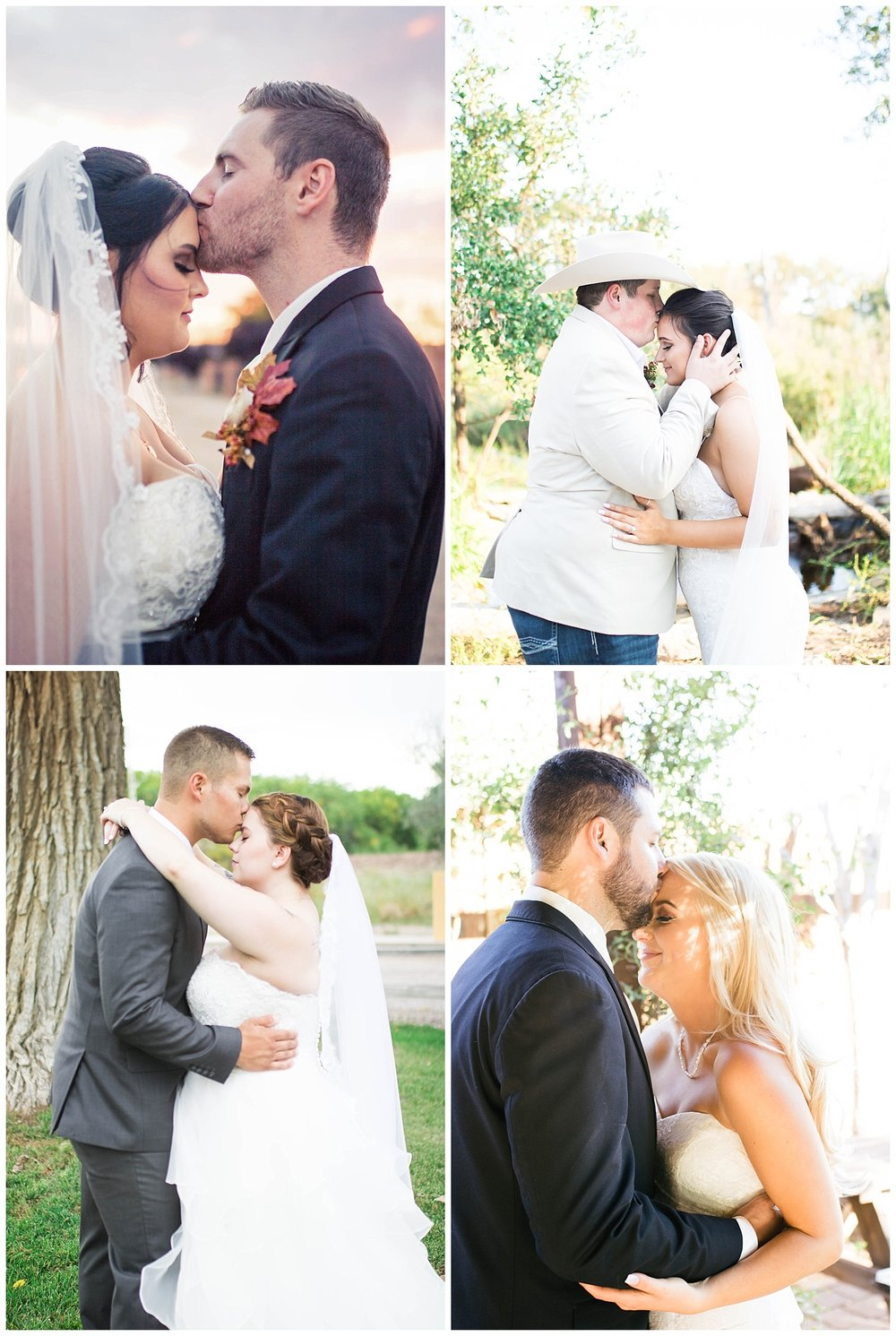 Beautiful bridal portraits with the groom kissing his bride on the forehead.