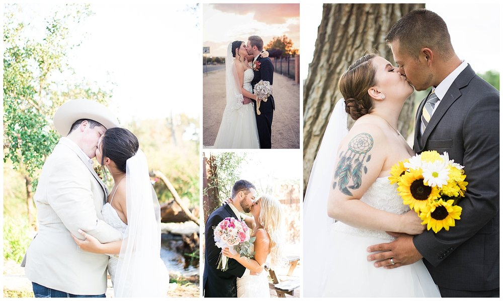 The groom kissing his beautiful bride during bridal portraits. Sunflowers, roses, and paper flowers. Some of the most beautiful boquetes I have ever seen.