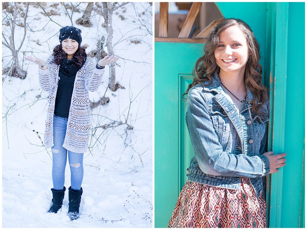 Senior portraits in the summer and winter.