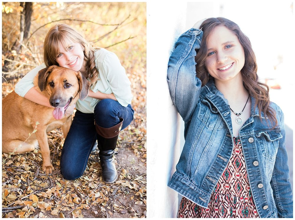 Fall senior photos with dog. Senior photos with dog. Senior photos in Old Town Albuquerque.