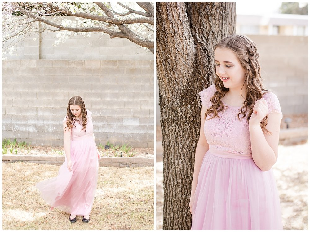 Senior Spokesmodel Team styled shoot. Red carpet hair, make up and dresses. Pastel pink dress with curly hair for spring.
