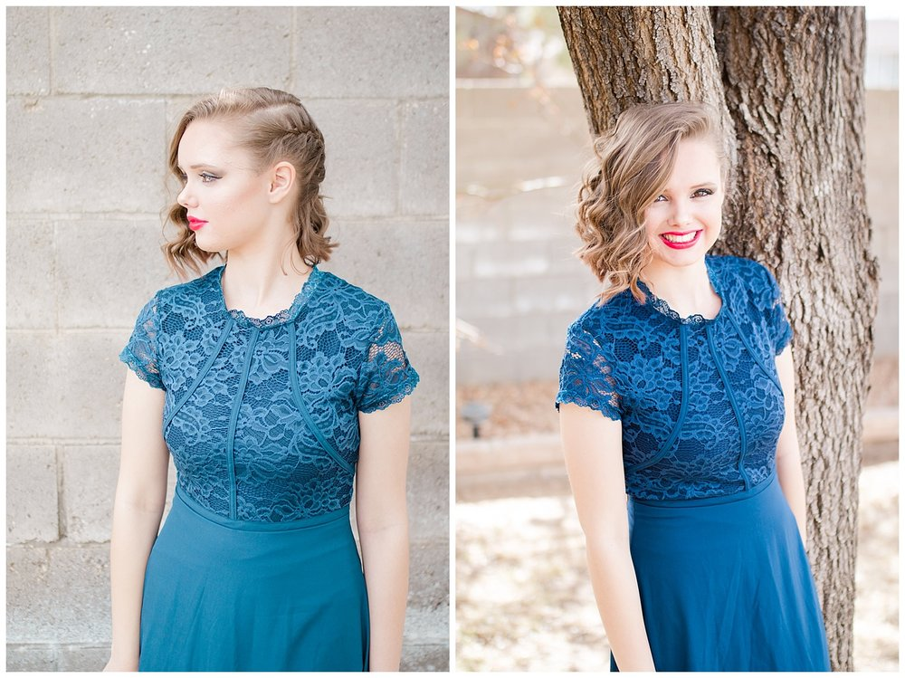 Senior Spokesmodel Team styled shoot. Red carpet hair, make up and dresses. Blue dress with lace.