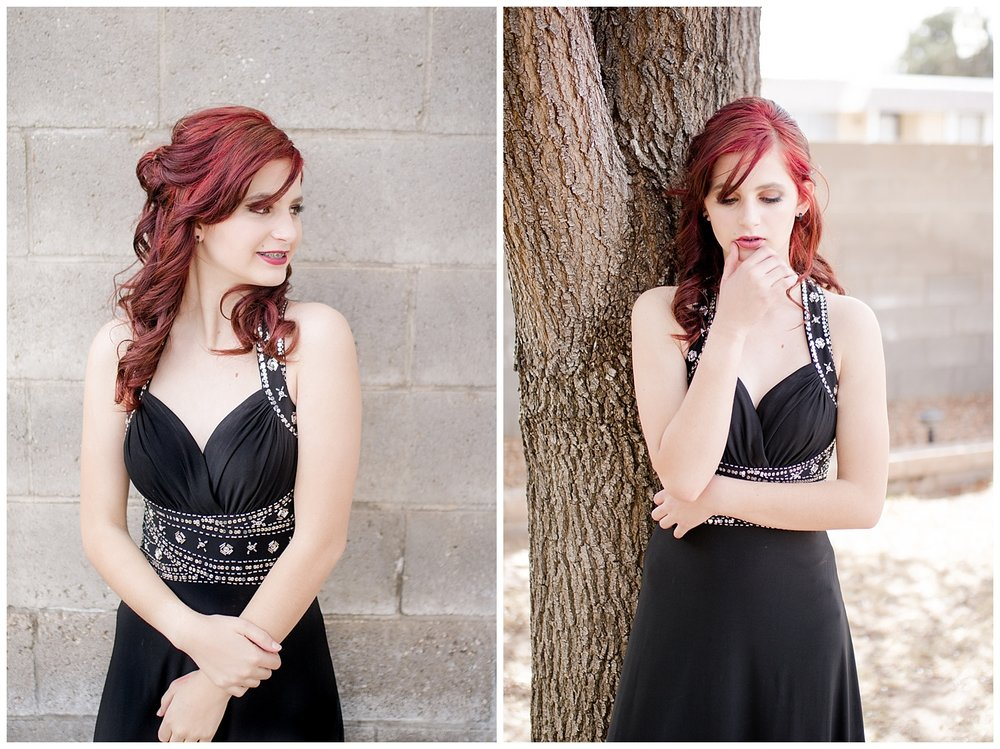 Senior Spokesmodel Team styled shoot. Red carpet hair, make up and dresses. Black dress with red hair.