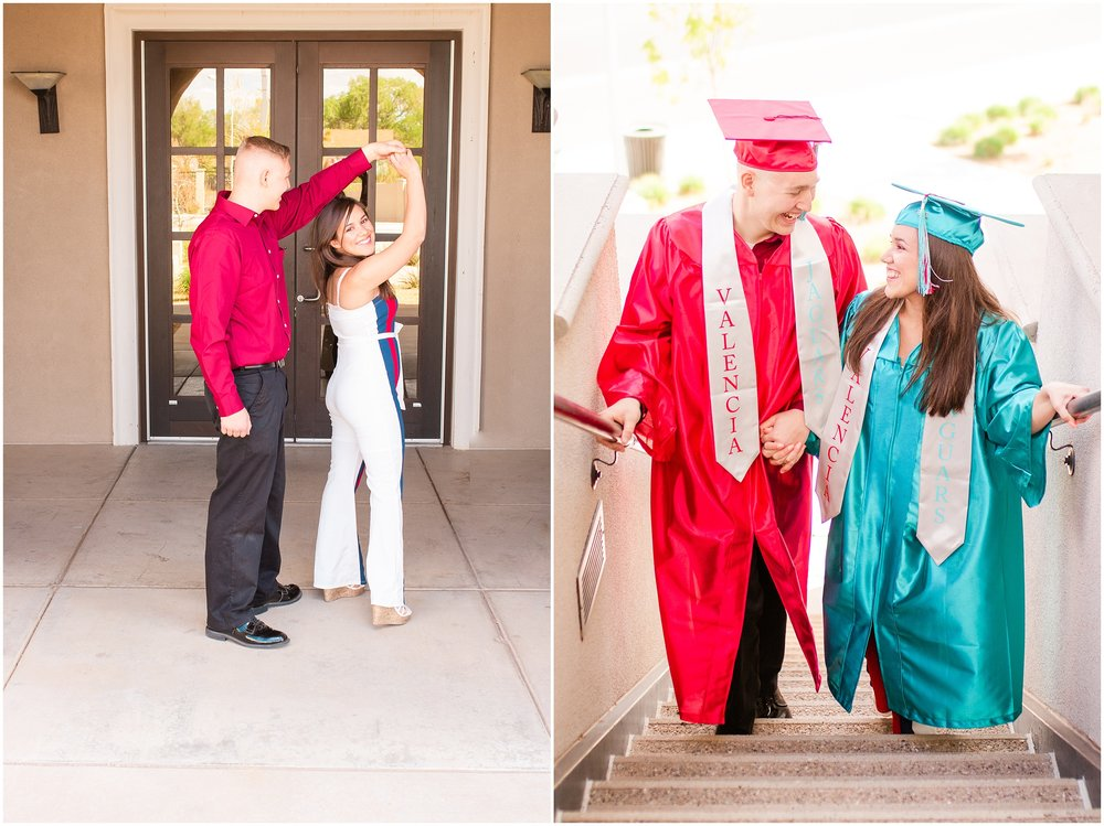 Valencia high school seniors, cap and gown, Los Lunas Rail Runner Station, 2018 Seniors