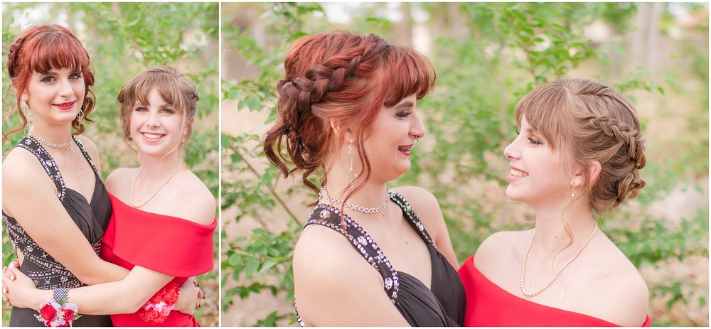 Sisters, love, family, laughing, serious, Red prom dress, Black prom dress.