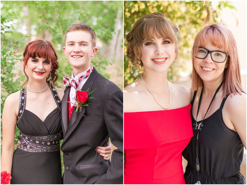 Sisters, brother, boyfriend, love, family, laughing, serious, Red prom dress, Black prom dress, Red roses.