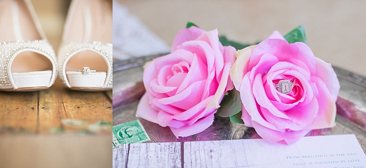Beautiful shots of the ring on the bride's shoes, and in a rose from her bouquet.