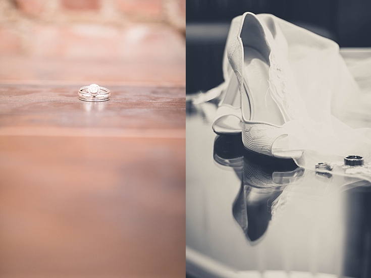 Beautiful shots of the ring with the bride's shoes and veil, and inside of her husbands ring on beautiful hardwood.