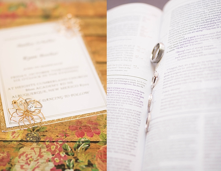 Beautiful shots of the ring on the wedding invitation, and in the bride's bible.